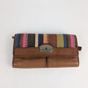 FOSSIL Rainbow Colored Brown Leather Wallet